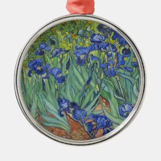 Blauwe Irissen Zilverkleurig Rond Ornament