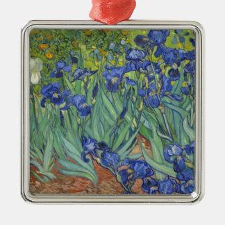 Blauwe Irissen Zilverkleurig Vierkant Ornament