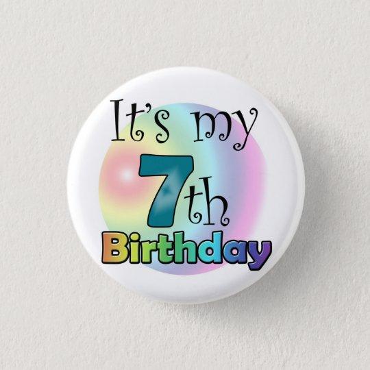 Blauwe It's my 7th Birthday Ronde Button 3,2 Cm