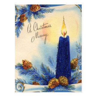 Blauwe Kaars en Kerstmis Pinecones Briefkaart