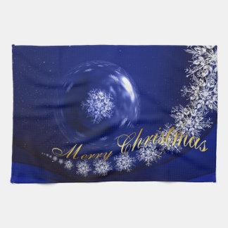 Blauwe Kerstmis Keukenhanddoek
