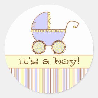 Blauwe Kinderwagen - het is een Jongen! Ronde Sticker
