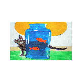 blauwe kruik met vissen en kat canvas print