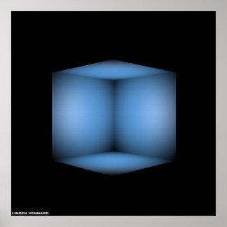 blauwe kubus poster