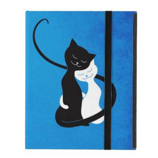 Blauwe Leuke Witte en Zwarte Katten in het Folio iPad Hoesje