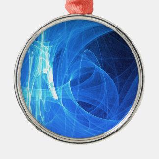 Blauwe lichte gloeiende samenvatting zilverkleurig rond ornament