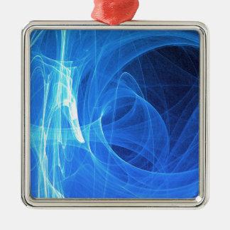 Blauwe lichte gloeiende samenvatting zilverkleurig vierkant ornament