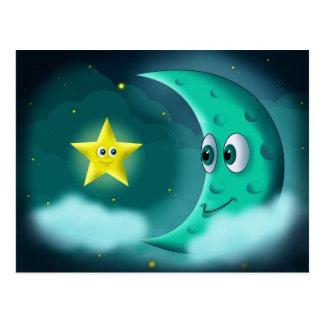 Blauwe Maan en Gele Ster Briefkaart