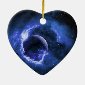 Blauwe Maan Keramisch Hart Ornament
