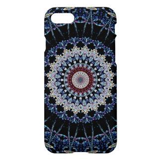 Blauwe Mandala Glanzende iPhone 7 beëindigt Hoesje