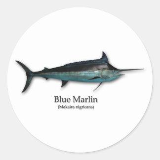 Blauwe Marlijn Ronde Sticker