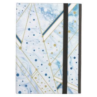 blauwe marmering & het gouden hoesje van de iPad air hoesje