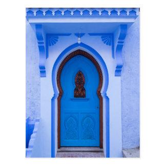 Blauwe Marokkaanse Deur Briefkaart