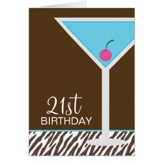 Blauwe Martini en Gestreept Patroon Kaart