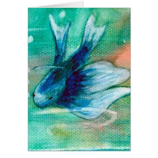 Blauwe Met inkt besmeurde Vissen Betta Briefkaarten 0