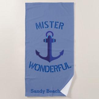 Blauwe MIJNHEER Prachtig ZeevaartThema van het Strandlaken