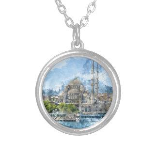 Blauwe Moskee in Istanboel Turkije Zilver Vergulden Ketting