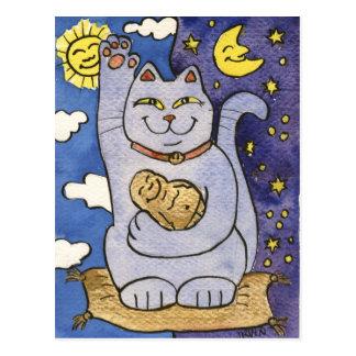 Blauwe Neko met Boedha op Gouden Hoofdkussen Briefkaart