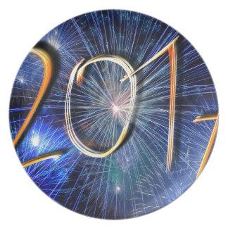 Blauwe nieuw-jaar-Dag #3 Melamine+bord