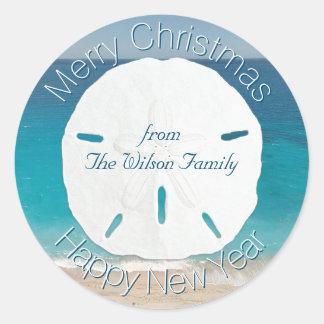 Blauwe Oceaan Vrolijke Kerstmis van de Dollar van Ronde Sticker