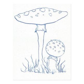 Blauwe Paddestoelen Briefkaart