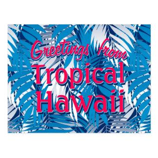 Blauwe palmbladen briefkaart