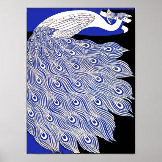 Blauwe Pauw Poster