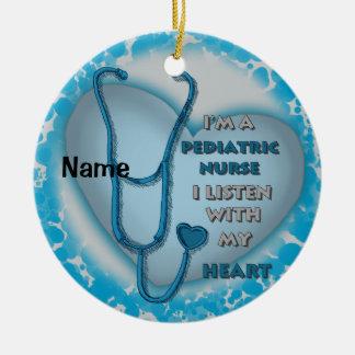 Blauwe Pediatrische Verpleegster Rond Keramisch Ornament
