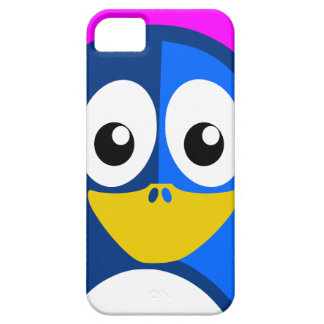 Blauwe Pinguïn op Paars Barely There iPhone 5 Hoesje