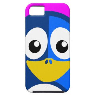 Blauwe Pinguïn op Paars Tough iPhone 5 Hoesje