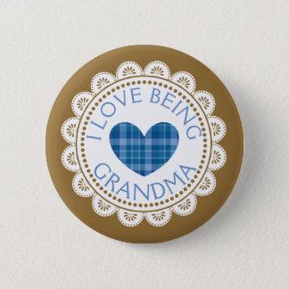 Blauwe Plaid I Liefde die de Knoop van de Oma zijn Ronde Button 5,7 Cm