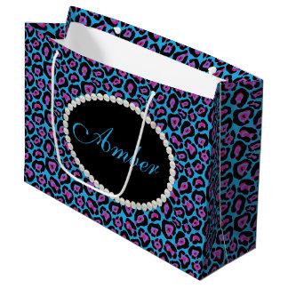 Blauwe & Roze Luipaard, de Zak van de Gift van LG Groot Cadeauzakje