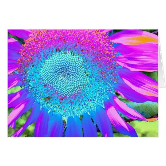 Blauwe Roze paarse Zonnebloem Wenskaart