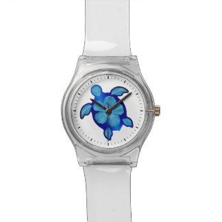 Blauwe Schildpad Honu en Hibiscus Horloge