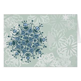 Blauwe Sneeuwvlok Wenskaart