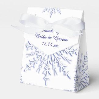 Blauwe Sneeuwvlokken op het Witte Huwelijk van de Bedankdoosjes