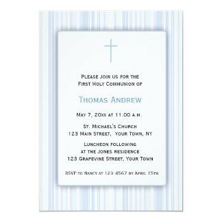 Blauwe Strepen, Eerste Heilige Communie 12,7x17,8 Uitnodiging Kaart