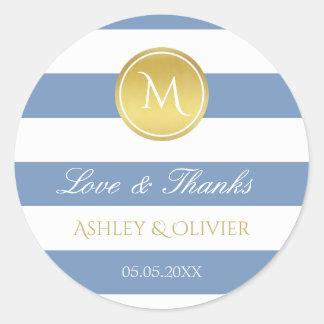 Blauwe Strepen & het de Gouden Liefde & Bedankt Ronde Sticker