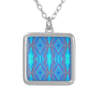Blauwe textuur zilver vergulden ketting