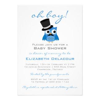 Blauwe Uil met de Uitnodiging van het Baby shower