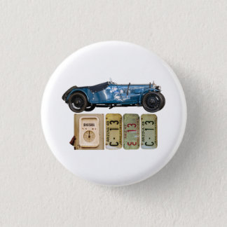 Blauwe Vintage Auto Ronde Button 3,2 Cm