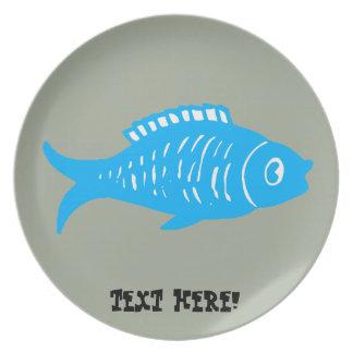 Blauwe Vissen Melamine+bord