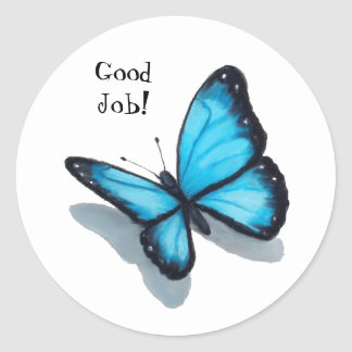 Blauwe Vlinder, Goede Baan, Leraar, Schooll Ronde Sticker