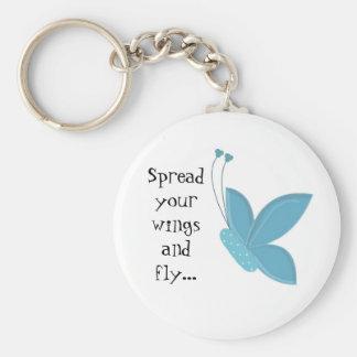 Blauwe Vlinder met Spreuk Basic Ronde Button Sleutelhanger