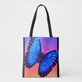 Blauwe Vlinder Morpho Dorsaal en Buik Draagtas