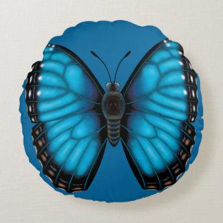 Blauwe Vlinder Morpho Dorsaal en Buik Rond Kussen