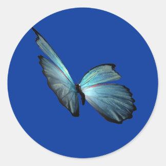 Blauwe Vlinder Morpho Ronde Sticker