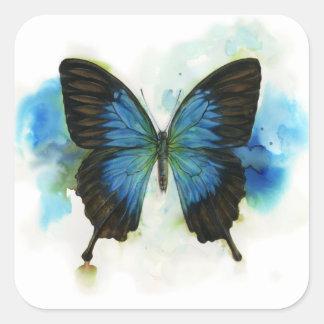 Blauwe Vlinder Om het even welke Kantoorbehoeften Vierkante Sticker