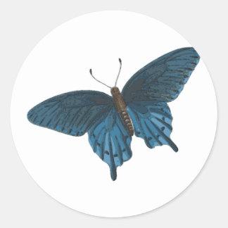 Blauwe Vlinder Ronde Sticker