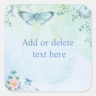 Blauwe Vlinder Vierkante Sticker
